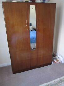 "Jack Sakol Ltd antique double fronted wardrobe / centre mirror - Dimensions H 69"" W 18"" L 48""."