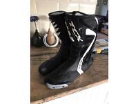 TCX racing motorcycle boots.
