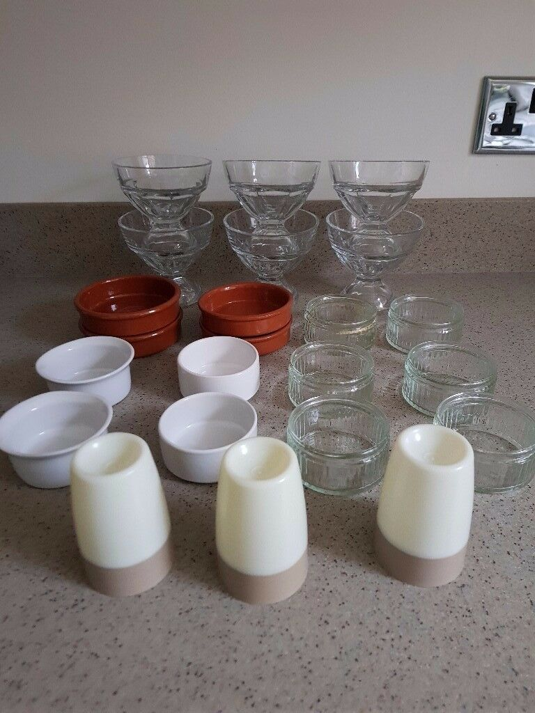 collection of sundae dishes, terracotta dishes, glass/ceramic ramekins, tupperware egg cups