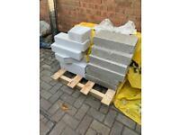 Concrete and thermalite blocks