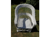 White Wicker Arm Chair