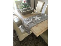 Stunning marbel stone dining table with 6 leather chairs