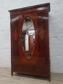 Edwardian Inlaid Mahogany Wardrobe (DELIVERY AVAILABLE FOR THIS ITEM OF FURNITURE)