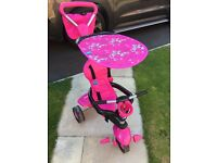 Girls Pink Butterfly Smart Trike - Great Condition