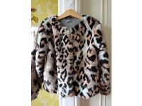 NEXT PINK AND BLACK FAUX FUR JACKET SIZE 8 YEARS