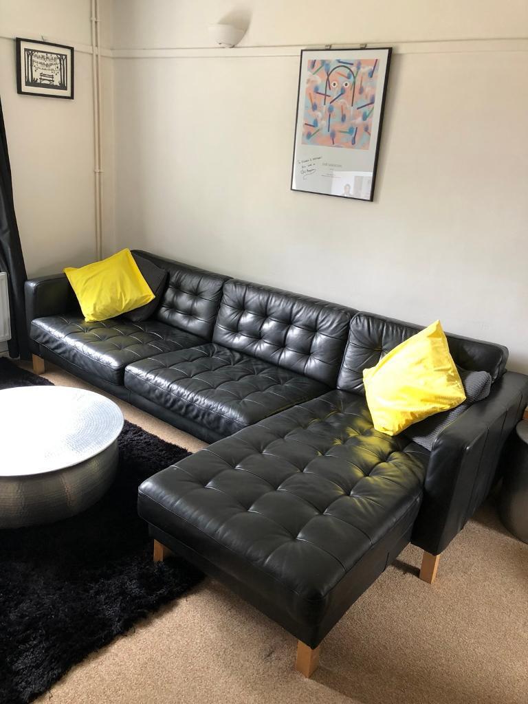 Incredible Ikea Landskrona Karlstad Black Leather Corner Sofa In Harrow London Gumtree Lamtechconsult Wood Chair Design Ideas Lamtechconsultcom