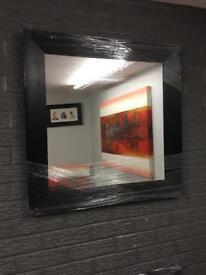 "large 30"" square black framed mirror"