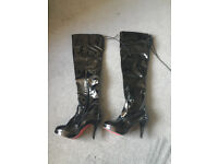 Sexy PVC thigh high boots Euro 37 Black Unbranded Brand New