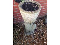 Gorgeous large stone owl plant stand with acorn planter