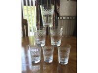 6 Vintage Diamond Cut Crystal Glasses