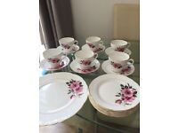 Pink rose pattern bone china tea set