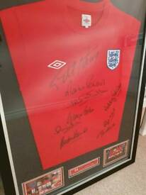 1966 world cup winning signed shirt, signed by all the greats comes with full coas