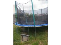14ft atlantic trampoline with enclosre and ladder