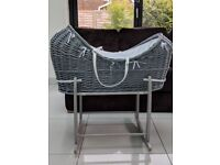 Nearly New Grey Wicker Moses Basket With Stand