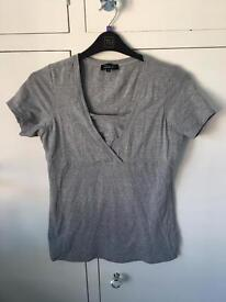 New Look grey maternity/nursing top size 16