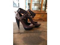 Burberry Brown Patent Leather Curved Heel Platform Peep Toe