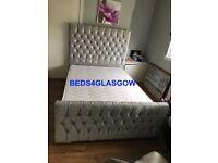 Double King crush velvet princess bed with memory foam or orthopedic mattress