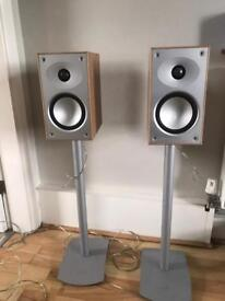 Mordaunt Short bookshelf speakers and Gale Arc stands