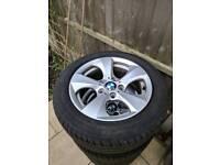 Bmw alloys set of 4 good tyres original
