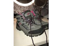 HI-TEC pink and grey hiking boots - WORN ONCE SIZE 7