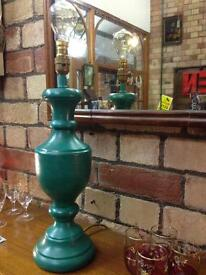 GREEN/BLUE/JADE SHABBY CHIC PAINTED WOODEN CANDLE STICK TABLE LAMP