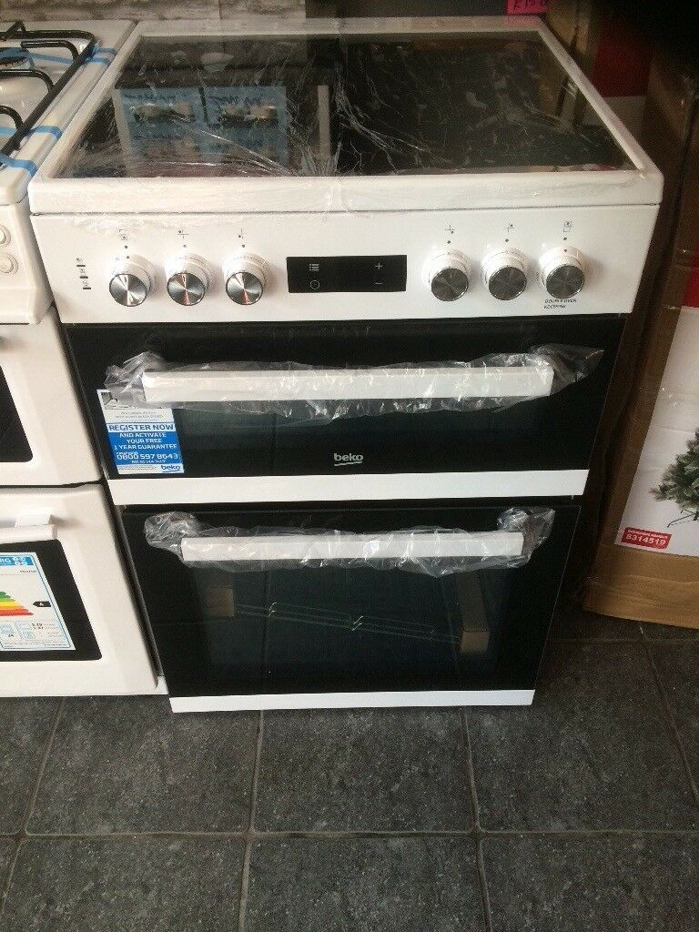Beko cooker ceramic hob electric double oven and grill brand new