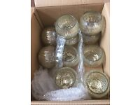 10 Gold Effect Glass Jars - ideal for weddings, suitable for tealight candles and flowers