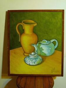 "Oakville Modern Art FRAMED Still Life Original Painting 22x26"" green yellow blue Acrylic canvas Wood frame Rustic feel"