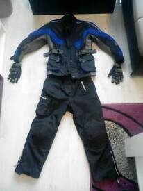 Junior Motorcycle jacket, trousers, gloves