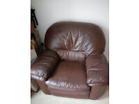 Brown leather armchair/recliner/sofa