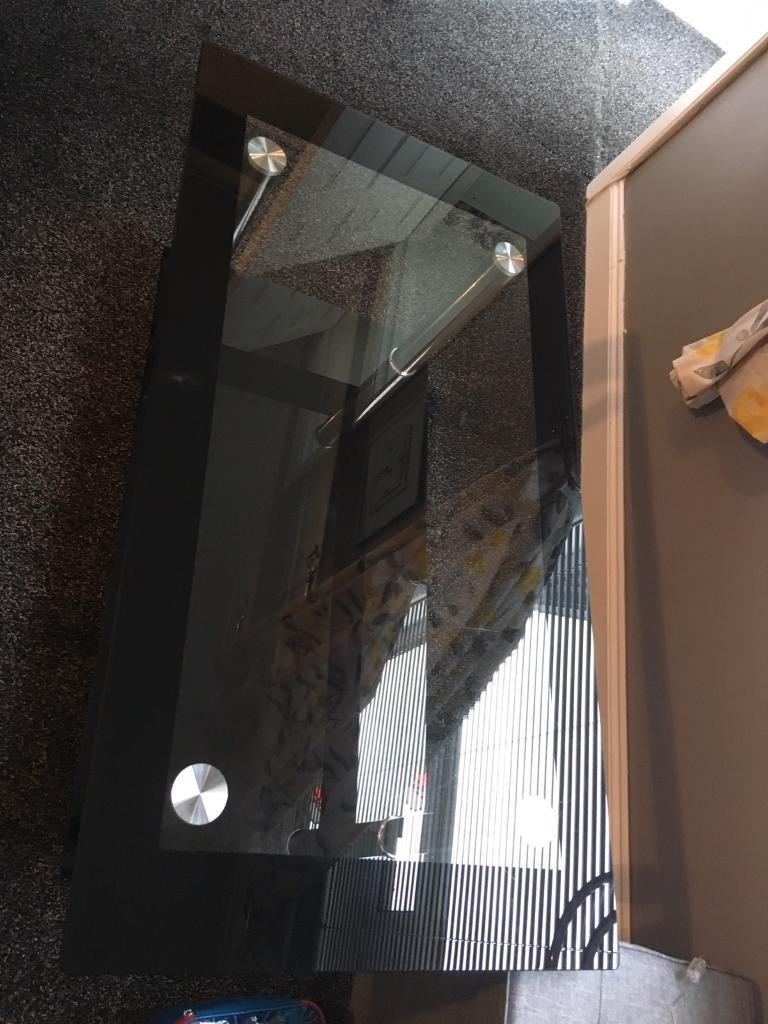 Black and glass coffee table excellent condition