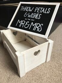 White wooden wood crate for wedding confetti with handmade blackboard sign, rustic