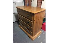Pine bedroom drawers and 2 bedside cabinets