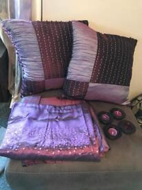 Purple living room accessories
