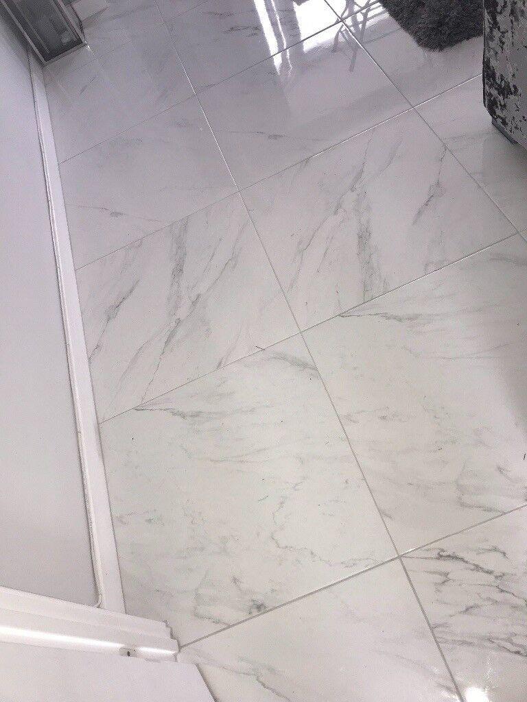 Calacatta White Marble Effect Porcelain Floor Tile 600x600 Gloss