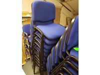 Blue office stacking chairs , Reception office stacking chairs