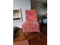 ANTIQUE VICTORIAN NURSING BEDROOM CHAIR FULLY RE-UPHOLSTERED