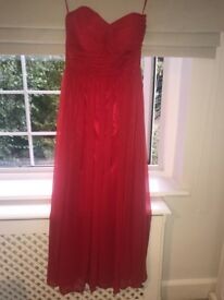 Red strapless prom dress, size 10