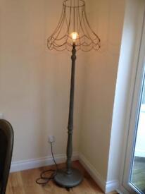 Shabby chic floor lamp and skeleton shade