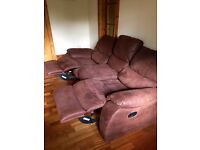Brown Suede Reclining 3 Seater Sofa