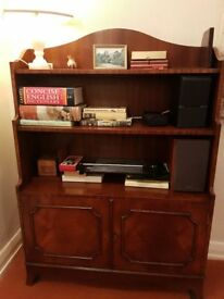 Solid mahogany reproduction bookcase with cabinet below