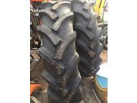 """2 new 12.4 x 28"""" 6 ply heavy duty cross ply tractor tyres as new never fitted"""