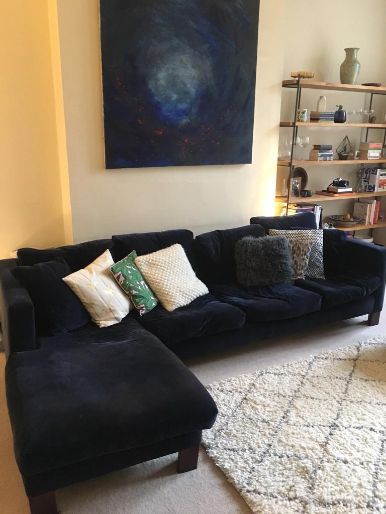 Stunning Large Velvet Navy Blue Corner Sofa