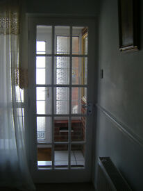 Wooden door with glass panels and chrome furniture