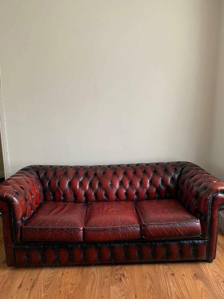 Chesterfield 3 Seater Leather Sofa In