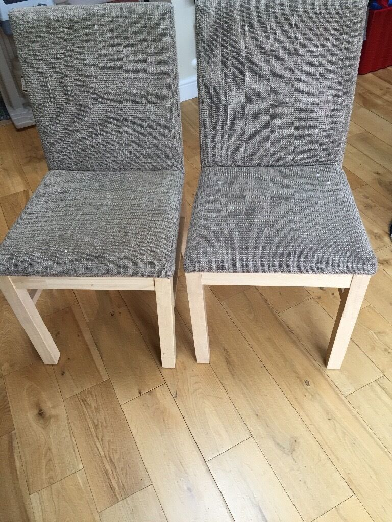 6 Dining room chairs for sale. Beige woven fabric with wooden legs ...