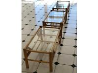 CONSERVATORY TABLE THREE PIECE SET CANE FURNITURE GARDEN PATIO SET SUN ROOM FOR SEATS CHAIRS SOFAS