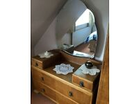 Oak wardrobe and dressing table with Art Deco detail design