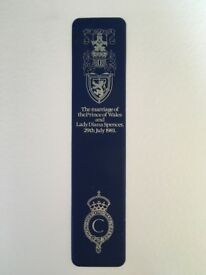 Lovely Collectible Bookmark Commemorating the Marriage of the Prince of Wales and Lady Diana Spencer