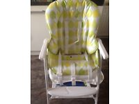 High Chair In green, yellow and white